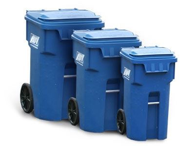 Three Blue Trash Totes of Different Sizes